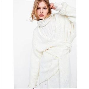NWT Zara Wrap Knit Sweater Ivory M